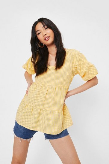 Yellow Relaxed Square Neck Gingham Print Blouse