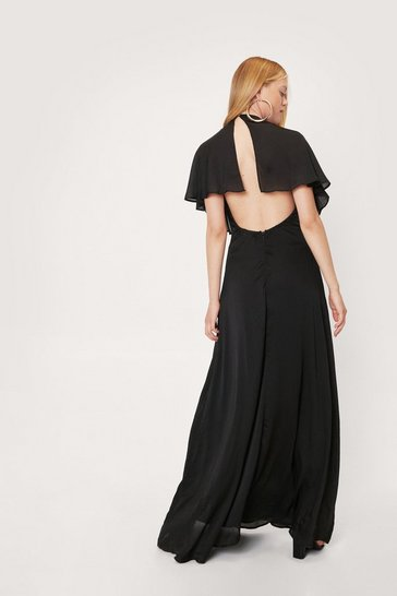 Black Satin V Neck Short Sleeve Maxi Dress