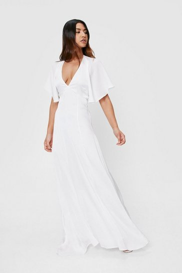 White Satin V Neck Short Sleeve Maxi Dress