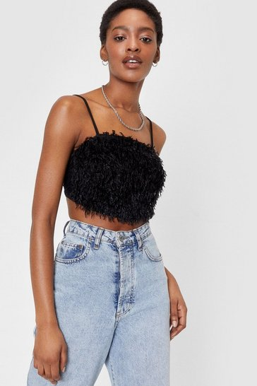 Black Feather Gonna Get It Strappy Crop Top