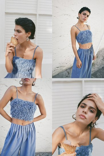 Blue Feather Gonna Get It Strappy Crop Top