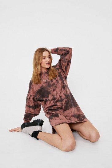 Rose Oversized Tie Dye Print Mini Sweatshirt Dress