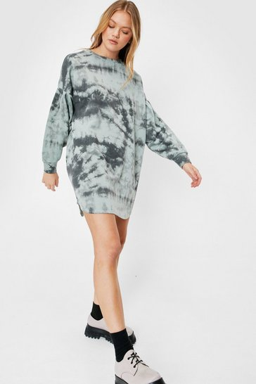 Sage Oversized Tie Dye Print Mini Sweatshirt Dress