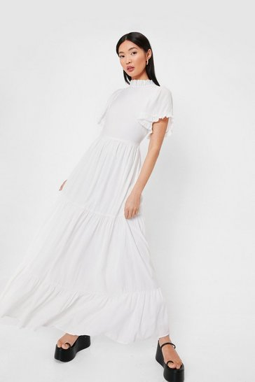 Ivory Tiered High Neck Short Sleeve Maxi Dress