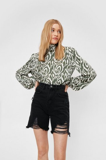 Olive High Neck Open Back Zebra Print Blouse