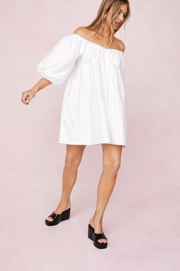 White Puff Sleeve Off the Shoulder Mini Dress