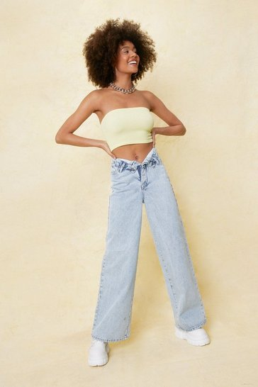 Light blue Fold Over Waist Straight Leg Jeans