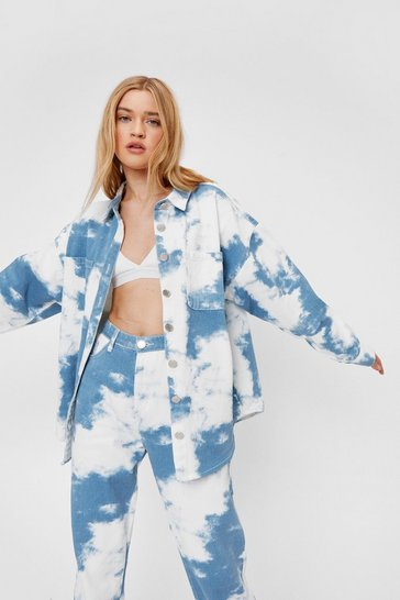 Blue Cloud Print Oversized Denim Shirt