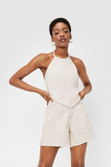Ecru High Waisted Raw Hem Longline Denim Shorts