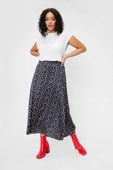 Black Plus Size Satin Floral Midi Skirt