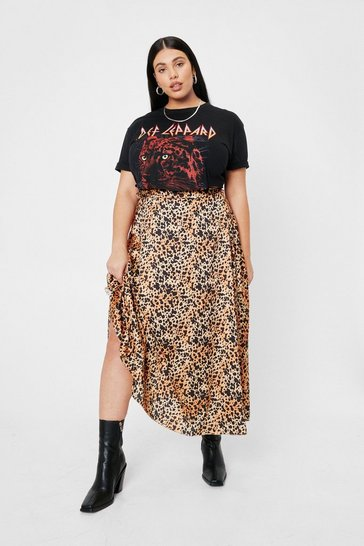 Plus Size Animal Print Satin Midi Skirt, Brown