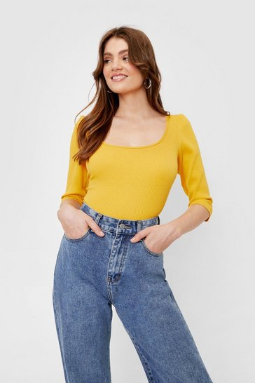 Lemon Ribbed Puff Sleeve Square Neck Top