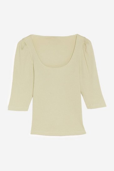 Sage Ribbed Puff Sleeve Square Neck Top