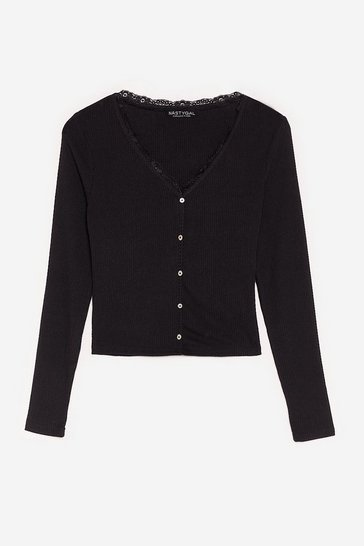 Black Button Top of Things Ribbed Lace Cardigan