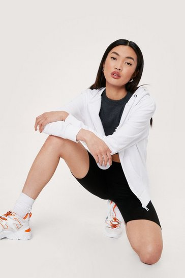 White Zip Through Relaxed Drawstring Hoodie