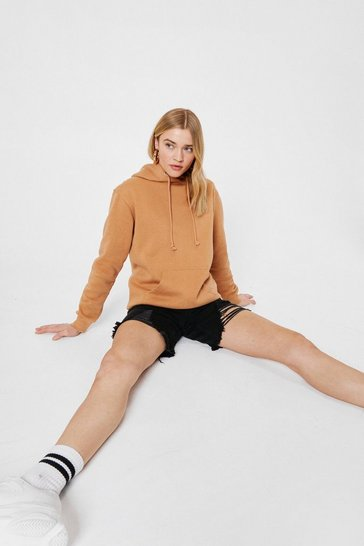 Biscuit Oversized Pocket Front Drawstring Hoodie