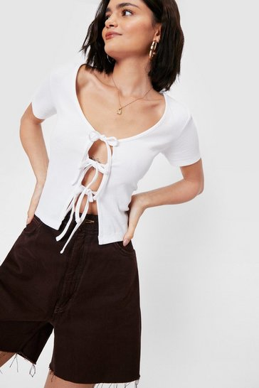 White Ribbed Jersey Tie Open Front Short Sleeved Crop Top