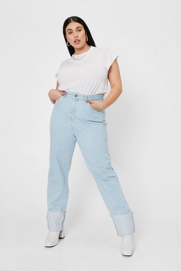 Light wash Plus Size Contrast Cuff Straight Leg Jeans