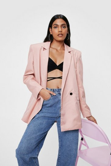 Lipstick Shoulder Padded Boxy Double Breasted Blazer