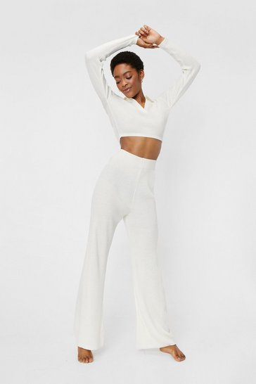 Ensemble de confort côtelé crop top à revers crantés & pantalon assorti, Cream