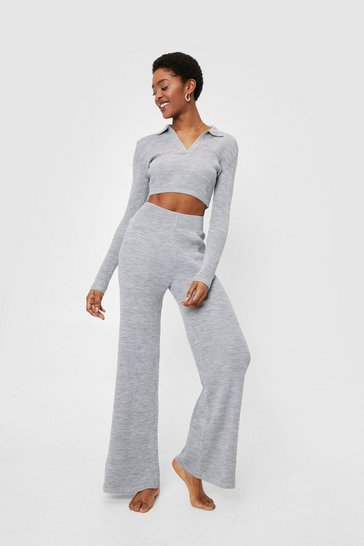 Grey marl Ribbed Knit Crop Sweater and Wide Leg Pants Lounge Set
