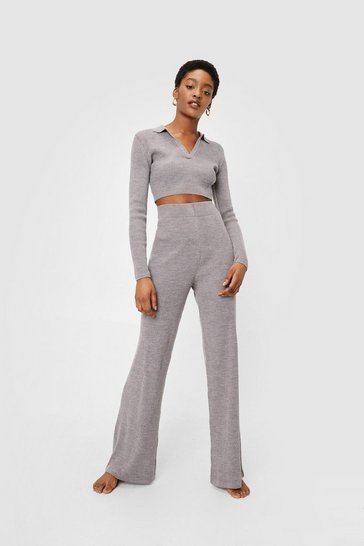 Taupe Ribbed Knit Crop Sweater and Wide Leg Pants Lounge Set