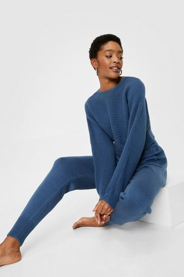 Dusty blue Chunky Knit Cropped Sweater and Jogger Lounge Set