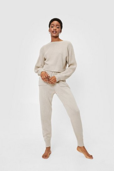 Stone Chunky Knit Crop Jumper and Sweatpants Lounge Set