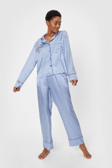 Satin Mini Polka Dot Pj Trouser Set, Pale blue