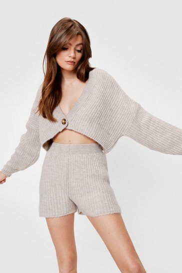 Stone Chunky Knit Cardigan and Shorts Lounge Set