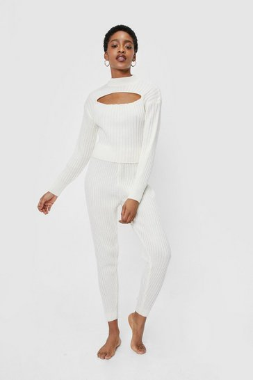 Cream Ribbed Knit Cut Out Top and Joggers Lounge Set