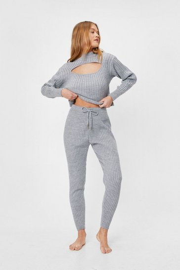 Grey marl Ribbed Knit Cut Out Top and Joggers Lounge Set