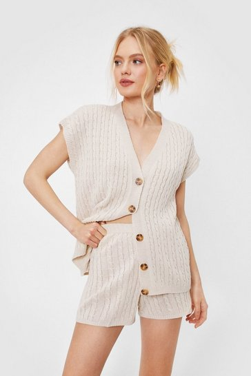 Stone Cable Sleeveless Cardigan Short Lounge Set