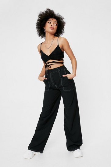 Black A Complicated Stitch-uation Petite Contrast Pants