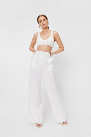 Cream A Complicated Stitch-uation Petite Pants