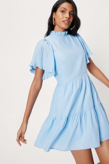 Cornflower blue Tiered High Neck Short Sleeve Mini Dress