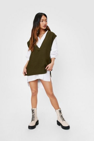 Khaki Petite Knitted Oversized Tank Top