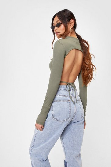 Olive Petite Long Sleeve Backless Crop Top