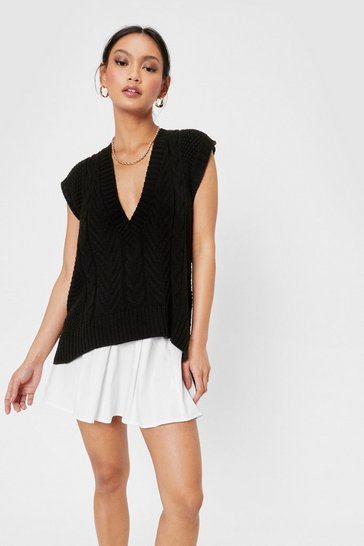 Black Petite Cable Knit V Neck Tank Top
