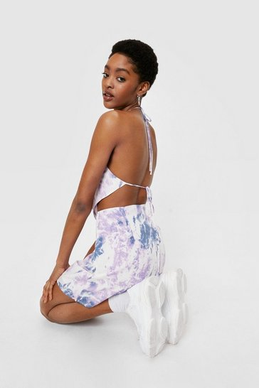 White Tie Dye Print Handkerchief Crop Top