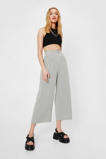 Sage High Waisted Linen Look Culottes