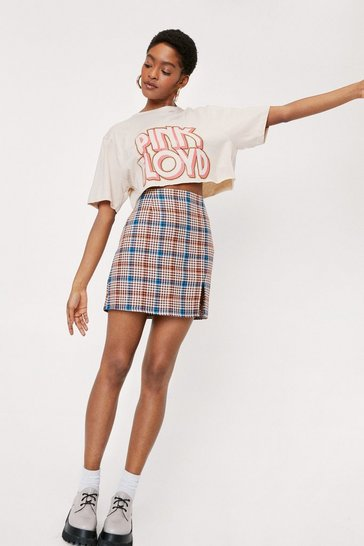 Orange Check Print High Waisted Split Hem Mini Skirt
