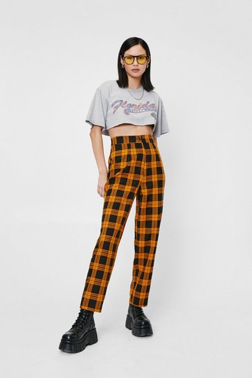 Mustard Check Print High Waisted Tapered Pants