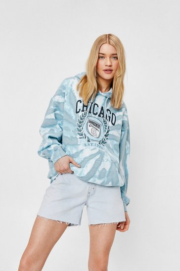 Blue Tie Dye Chicago Graphic Long Sleeve Hoodie