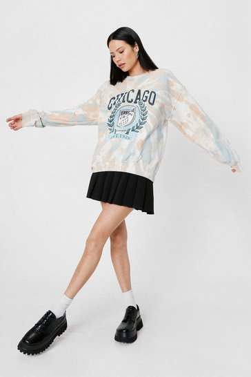 Tan Chicago Tie Dye Oversized Graphic Sweatshirt