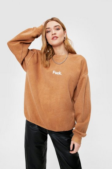 Coffee Fuck Graphic Acid Wash Sweatshirt