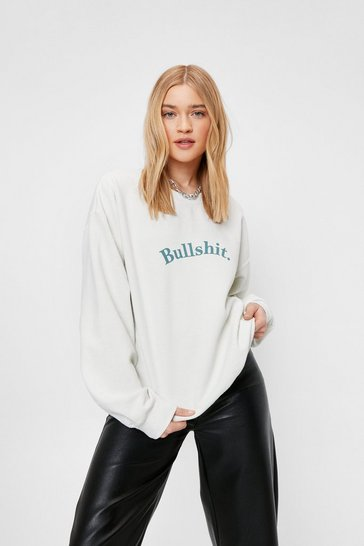 Cream Bullshit Crew Neck Oversized Graphic Sweatshirt