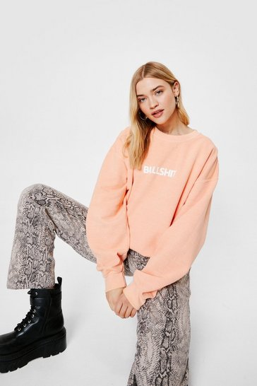 Peach Bullshit Crew Neck Oversized Graphic Sweatshirt