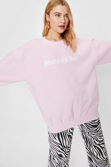 Pink Motherfucker Crew Neck Oversized Graphic Sweatshirt