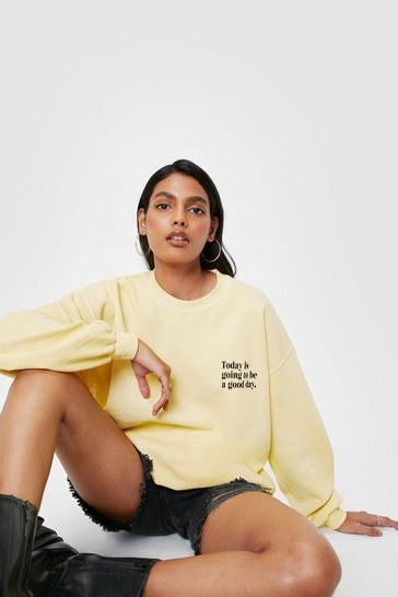 Lemon Going to be a Good Day Oversized Graphic Sweatshirt